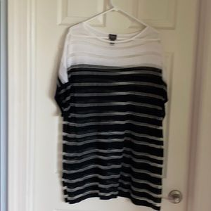 White and Black sheer tunic top